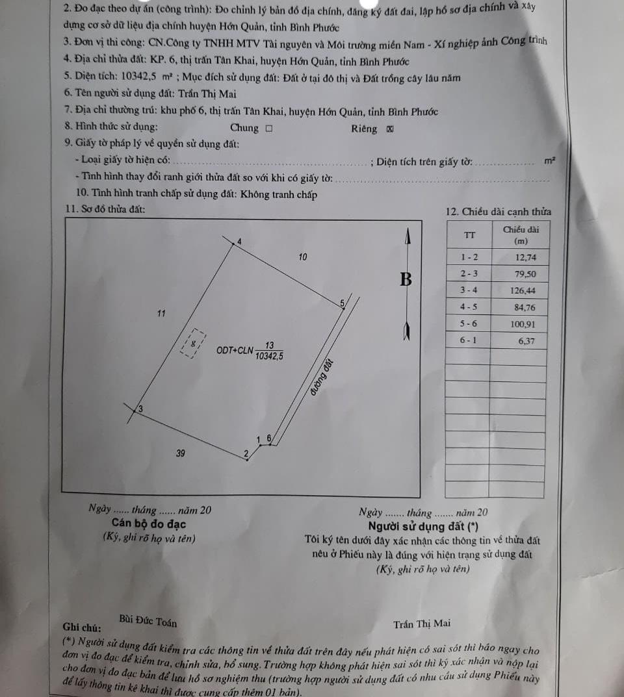 Bán đất thị trấn Tân Khai giá 8ty7 dt 2ha3