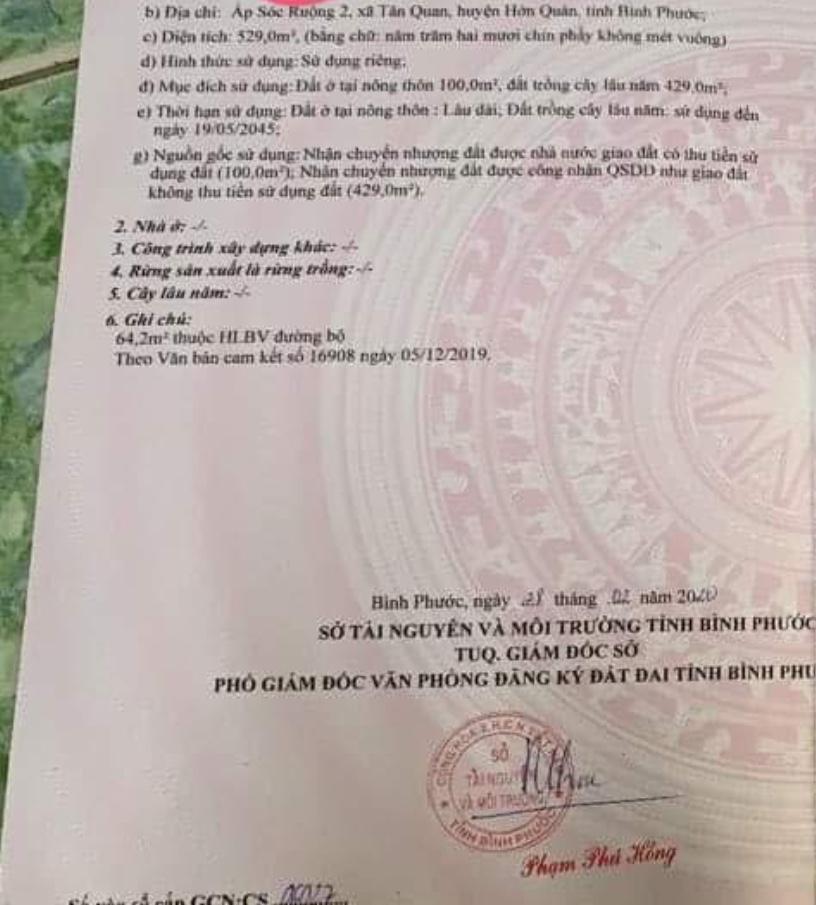 Bán đất xã Tân Quan giá 800tr dt 6x76x100tc