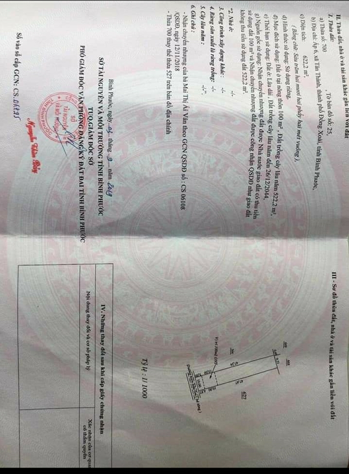 Bán đất xã Tân Thành giá 1 tỷ 450tr dt 10×62×100tc